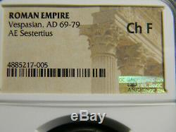 Empire Romain Vespasien Ad 69-79 Sestertius Coin Ngc Choix Beaux
