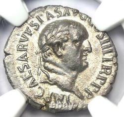 Empire Romain Vespasien Ar Denarius Silver Coin 69-79 Ad Certifié Ngc Au