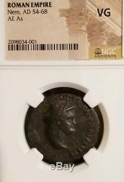 Empire Romane Nero Ae Ngc Vg Ancienne Pièce De Monnaie