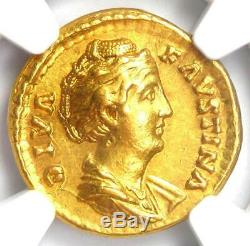 Faustina Romain Principal Or Av Aureus Coin 138 Ad Certifié Ngc Au 5 Grève