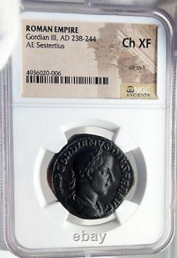 Gredien III Ancien Authentique 243ad Sestertius Roman Coin Fortuna Ngc I82694
