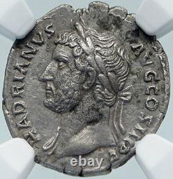 Hadrian Rare Left Facing Bust Authentic Ancient Silver Roman Coin Ngc I85416