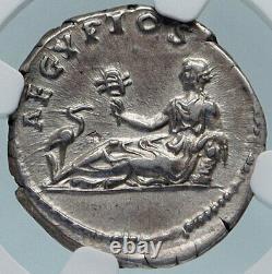 Hadrian Se Rend En Egypte Authentique Rome Antique Argent Pièce Romaine Ngc I84996