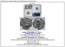 Hadrian Voyage En Espagne Ancien Authentique 134ad Argent Roman Coin Ngc I86653