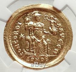 Honorius Authentique Ancien 408ad Véritable Original Pièce D'or Romaine Or Ngc Ms I73332