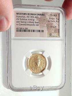 Honorius Authentique Ancien 408ad Véritable Originale Or Roman Coin Ngc I71692