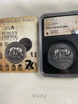 Îles Cook 2021 Romulus & Remus Ms70 Antiqued 1oz Silver-roman Empire Series