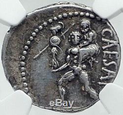 Jules Cesar 48bc Antique Argent Monnaie Romaine Venus Troy Rome Hero Ngc I81522