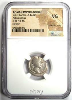 Jules César Ar Denarius Roman Silver Coin 48 Bc Certifié Ngc Vg (très Bon)