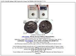 Jules Cesar Authentique 46bc Ancienne Pièce De Monnaie Romaine Argent Thapsus Bataille Ngc I71710