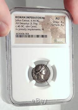 Jules Cesar Authentique 46bc Ancienne Pièce De Monnaie Romaine Argent Thapsus Bataille Ngc I72402