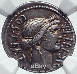 Jules Cesar Authentique 46bc Ancienne Pièce De Monnaie Romaine Argent Thapsus Bataille Ngc I81521