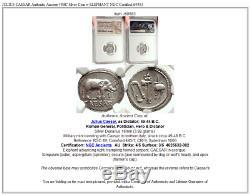 Jules Cesar Authentique Ancien 49bc Pièce D'argent Avec Elephant Ngc Certifié I69583