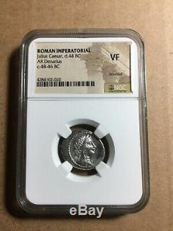 Jules César D 44bc 48bc Imperatorial Romain. Denier D'argent Ngc Certifié Coin