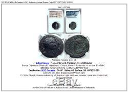 Jules Cesar Véritable 46bc Romain Authentique Ancienne Pièce De Monnaie Victoire Ngc I82500