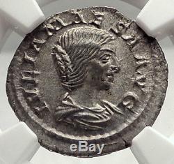 Julia Maesa Authentique Ancien 218ad Rome Argent Monnaie Romaine Pietas Ngc I73325