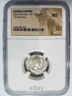 Julia Mamaea Empire Romain Ngc Ms Ad 222-235 Ar Denarius Argent Ancienne Pièce De Monnaie