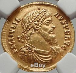 Julian II 361 Après Jc Authentique Pièce D'or Solidus Dorée Généalogique Ngc Ch Xf