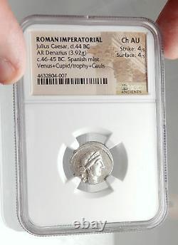 Julius Caesar 46bc Vercigetorix Gagnez Venus Ngc Certified Silver Roman Coin I75090