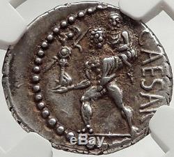 Julius Caesar 48bc Pièce De Monnaie Romaine En Argent Antique Venus Troy Rome Hero Ngc I66473