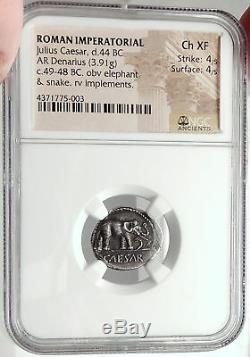Julius Caesar 49bc Serpent Éléphant Véritable Argent Antique Argent Pièce De Monnaie Ngc Ch Xf