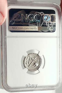 Julius Caesar Authentic Ancient 49bc Silver Coin W Elephant Ngc Certifié I69583