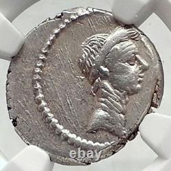 Julius Caesr Portrait 42bc Rome Romaine Authentique Argent Ancienne Pièce De Monnaie Ngc I72396