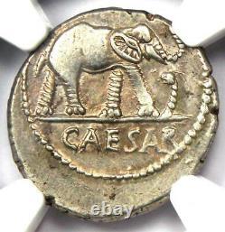 Julius Romain Caesar Ar Denarius Elephant Silver Coin 48 Bc Ngc Choice Xf (ef)