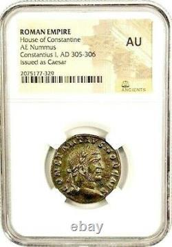 L'empereur Romain Antique Constantius Chlorus 1er Coin Ngc Certifié Au Avec L'histoire