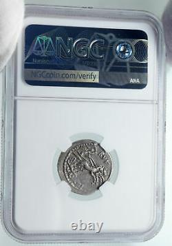 La République Romaine Authentique Ancien 101bc Rome Argent Coin Roma Chariot Ngc I86042