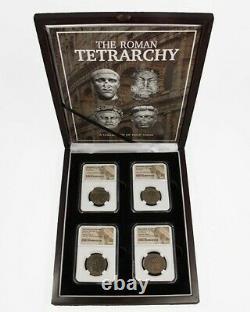 La Tetrarchya Romaine Collection De Quatre Pièces Ngc-équarri Avec La Boîte D'affichage