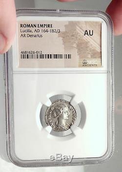 Lucilla Lucius Verus Wife 164ad Romaine Authentique Argent Ancienne Pièce De Monnaie Ngc I72941