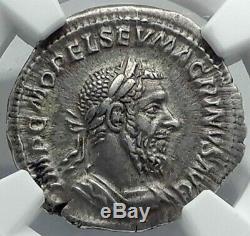 Macrinus Authentique Ancien 217ad Denier D'argent Monnaie Romaine Avec Jupiter Zeus Ngc