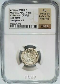 Macrinus Empire Romain Ad 217-218 Ngc Au Denier D'argent Longue Barbe Ancienne Pièce De Monnaie