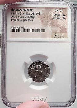 Manlia Scantilla Femme Didius Julianus 193ad Argent Authentique Romaine Monnaie Ngc Chvf