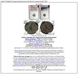 Marcus Ambibulus Augustus Jerusalem Ancient 10ad Biblical Monnaie Romaine Ngc I70910