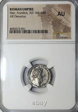 Marcus Aurelius 161-180 Ad Ar Silver Denarius Rome Ngc Au Ancient Roman Coin