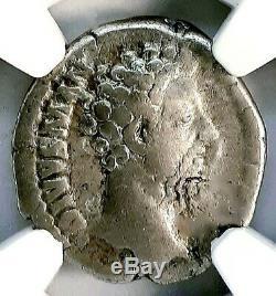 Marcus Aurelius 161-180 Ad. Magnifique Denarius Romain Antique Argent Monnaie, Ngc