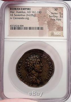 Marcus Aurelius 161ad Authentique Pièce De Monnaie Romaine Antique Certifiée Xf Par Ngc