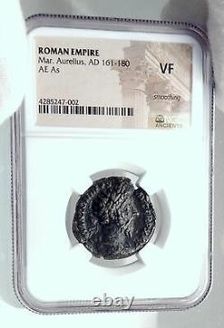 Marcus Aurelius Authentique Rome Antique Ancienne Pièce Romaine River Tiber Ngc I81270