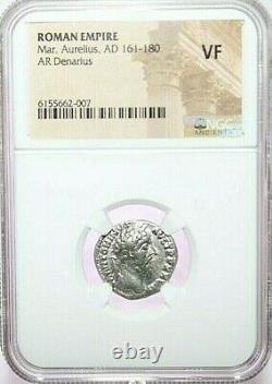 Marcus Aurelius Ngc Vf Roman Coins, Ad 161-180. L'ar Denarius. A775
