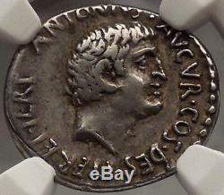 Mark Antony 36 Av. Pièce De Monnaie Romaine En Argent Tiara Ngc Certifié Par Le Conquérant Arménien