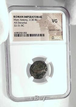 Mark Antony Cléopâtre Amant 32bc Argent Ancienne Pièce De Monnaie Romaine Legion XX Ngc I80504
