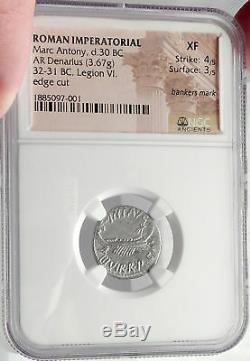 Mark Antony Ex Jules César Legion VI Ferrata 32bc Pièce De Monnaie Romaine En Argent Ngc I64492