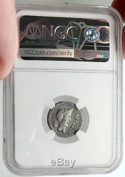 Mark Antony & Julius Caesar Très Rare Pièce De Monnaie Romaine En Argent Antique 43bc Ngc I67865