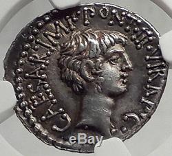Mark Antony & Octavian -triumvirs 41bc Monnaie Argent Antique Romaine Ngc Au 5/5 5/5