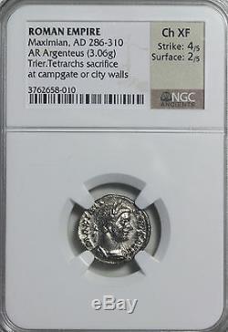 Maximian 286-310 Ad Ar Argenteus Trier Neuf Ngc Ch Xf Acient Empire Romain Coin