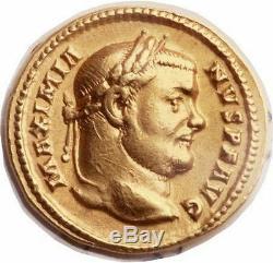 Maximianus 303ad Authentique Pièce De Monnaie Aureus Rare Xf Gold Authentique Romain Antique Ngc