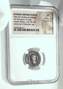 Metellus Scipion Ennemi De Jules César 47bc Antique Romain Silver Coin Ngc I78895