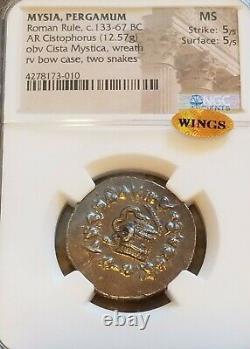 Mysia Pergame Romaine Règle Cistophorus Ngc Ms 5/5 Ancient Silver Coin